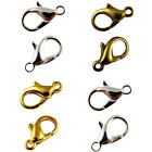 50 Metal LOBSTER CLAW CLASPS - Bronze, Gold & SILVER PLATED - 10mm, 12mm & 14mm