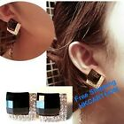 European A Pair Gothic Punk Black Diamond Crystal Alloy Earrings