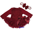 Newborn Baby Rosettes Rose Red Wine Ruby Bodysuit Romper Pettiskirt Party Dress