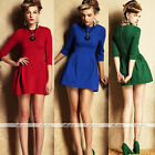 Elegant Womens 3/4 Sleeves Slim Waist Dress Chic Elastic Sexy Mini Skirt Dress