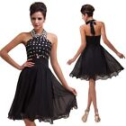 Short Halter Formal Prom Graduation Evening Cocktail Party Homecoming Gown Dress