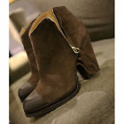 US6-8 New Genuine Leather Side Zipper Pumps Ankle Boots pointy toe womens shoes