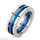 MENS STAINLESS STEEL SILVER BLUE IP CENTER BAND COMBINATION WEDDING RING 7.5MM