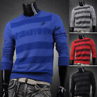 New Arrival!Mens Casual Sport Long Sleeves Stripy Tops Pullover T-Shirt Sweaters