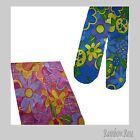 TIGHTS Pantyhose Hippie Mod FLOWER POWER Pink or Blue