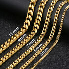 3/5/7/9/11mm MENS Chain Boy Gold Tone Curb Link Stainless Steel Necklace 18-36''