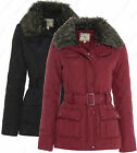 Women Quilted MILITARY Ladies JACKET COAT PADDED TRENCH Black Size 8 10 12 14 16