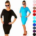Knee Length Stretchy Dress 3/4 Batwing Sleeve UK 4-18 US 2-16 24h Dispatch 955