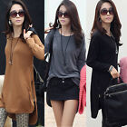 Women Long Sleeve Forked Tail Irregular Mid-length Blouse Top Hem Zipper T-shirt