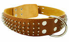 "Genuine Thick Leather Dog Collar 23""-28"" neck Spiked Mastiff, Cane Corso XLarge"
