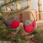 GISELA GRAHAM TWEED ROBIN BIRD CLIPS FESTIVE CHRISTMAS TREE DECORATIONS GIFT