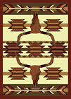 "Country Black Navajo Carpet 5x8 Bull Skull Arrow Area Rug : Actual 5' 3"" x 7' 2"""