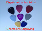 Guitar Plectrums - Aluminium - 8 Colours - FREE P&P. Engraved -One Side or Both.