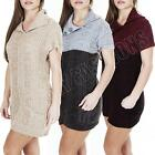 New Womens Ladies Chunky Knit Knitted V Neck 2 Button Jumper Dress Size S M L XL