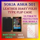 LEATHER DIARY FOLIO FLIP CASE COVER for NOKIA ASHA 501 MOBILE FRONT & BACK FLAP