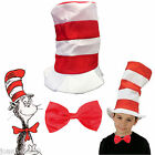 CAT IN THE HAT BOOK DAY WEEK CHARACTER FANCY DRESS RED WHITE STRIPED SEUSS BOW