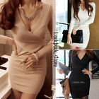 Women Sexy Long Sleeves Cross Plunging V Neckline Stretch Knit Bodycon Fit Dress