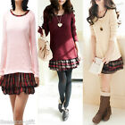 2013 Women Girl Long Sleeve Stitching Dress Sweater Shirt Top M2040