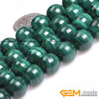 """Natural Malachite Gemstone Round Loose Spacer Beads For Jewelry Making 15"""" YB"""