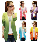 New Women Gradient Color Irregular Hem Long Sleeve Cardigan Sweater Knitwear