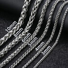 3/4/5/6/8/10mm Mens Chain Silver Stainless Steel Wheat Braided Necklace Bracelet