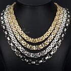 8MM Mens Chain Boys Silver Gold Black Flat Byzantine Stainless Steel Necklace