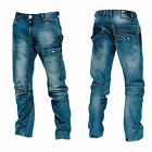 Crosshatch Vierra Mens Stone Wash Twist Cut Distressed Look Jeans RRP £59.99