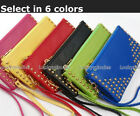 1PC in Lady Gilr Rivets Zipper Hand Wrist Coin Bag Wallet