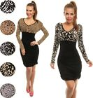 Sexy Animal Print Stretch Ruched Jersey Dress Long Sleeve UK 10-18 24h Disp 938