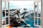 Huge 3D Window view Fantasy Army Fighter Wall Sticker Film Art Decal Wallpaper