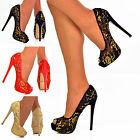NEW Ladies Golden Lace See Through Peep Toe High Heels Shoes Evening Pumps Size