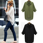 Fashion Women Chiffon Shirt Long Sleeve Button Down Casual Loose Tops Blouse