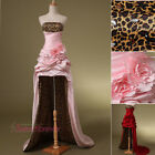 Leopard Hi-low Evening Prom Dresses Girls Formal Party Gowns Pick-ups Flowers