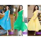 Womens Sleeveless Pleated Maxi Prom Party Evening Chiffon Summer Long Dress