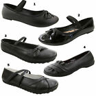 GIRLS CHIX BLACK SCHOOL SHOES SLIP ON FLAT DOLLY PUMPS BALLET DOLLY SIZES 10-2.5