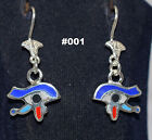 Hallmark Egyptian, Pharaonic, Authentic Silver Earrings,Scarab,Lotus And Ankh