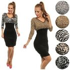 Glamour Empire Women's Animal Print Midi 3/4 Sleeve Stretch Ruched Dress 041