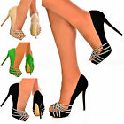NEW Ladies Dazzling Cut Out Net Front Party Evening Platform High Heel Shoe Size