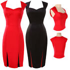 Womens Vintage Party Wear To Work Prom Evening Cotton Bodycon Slim Pencil Dress