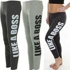 New Womens Ladies Like A Boss Print Full Leggings Trousers Pants Size 8 10 12 14