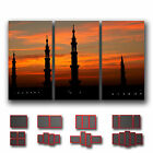 ' Silhouette of Prophet's Mosque '  Islamic Religion Wall Art Canvas ~ 3 Panels