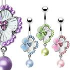 Pastel Flower Pearl Coated Stainless Steel Belly Button Dangle Ring Navel