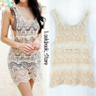 Women Boho Floral Crochet Lace Sleeveless Mesh Panel Long Fit Sheer Top Tank