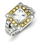 Sterling Silver W/ Rhodium-plated Yellow & Clear CZ Ring