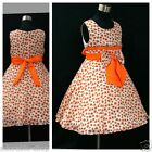 O6601 Orange Chrstening Wedding Party Flower Girls Dresses SIZE 2,3,4,5,6,7,8,9Y