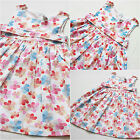 Girls Summer Dress White Pink Floral Spring Clothes Back Button Age 02 To 5 6t 7