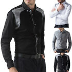 Sexy&Cool Slim Fit Mens Dress Formal Shirts Casual Shirt Patched Design Tops NEW