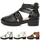 WOMENS LADIES CHUNKY LOW HEEL CUT OUT ZIP CLEATED BIKER ANKLE SHOES SANDALS SIZE