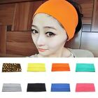 Women Girls Cotton Yoga Sport Headband Stretch Wide Hairband Turban Armband