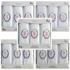 3 Pack Of Womens Embroidered Initials Handkerchiefs With White Satin Border